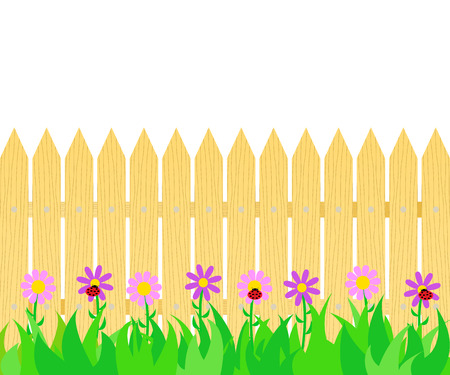 Grass and flowers before the fence icon. 版權商用圖片 - 100867564
