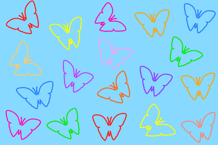 Colorful butterflies seamless pattern. Illustration