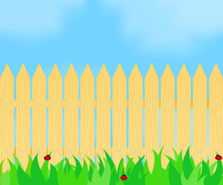 Grass in front of the fence. Illustration