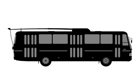 Black and white image of the trolleybus. Illustration