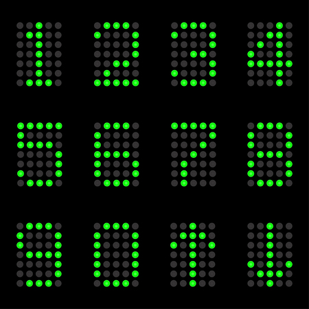 The numbers of green lamps on a black background.