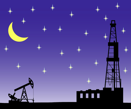 Silhouette of drilling rig and pump.