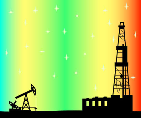 Silhouette of drilling rig and pump on background of aurora borealis.