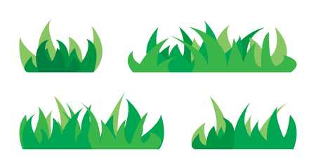 Set of silhouettes of green grass. Vector illustration.