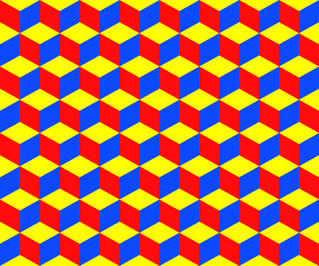 Vector illustration of color cubes seamless background.