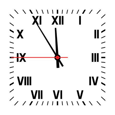 Horloge geïsoleerd op een witte achtergrond. Vector Illustratie