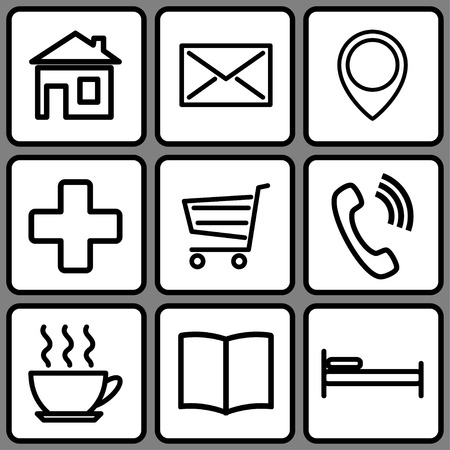 A set of stencils for map icons. Vector illustration. Illustration