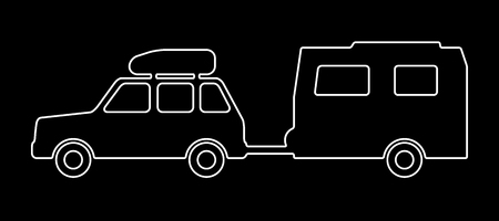 Passenger car with a trailer. Vector illustration.