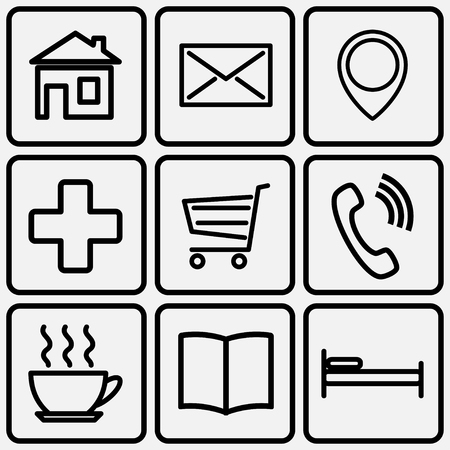 A set of stencils for map icons. Vector illustration.  イラスト・ベクター素材