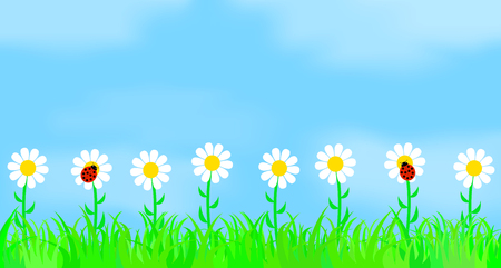 Flowers on the background of the sky. Vector illustration. Vector Illustratie