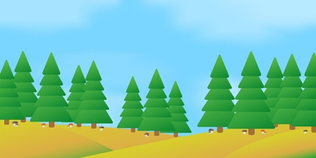 The vector illustration of autumn forest landscape. Stock Illustratie