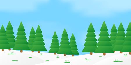 The vector illustration of spring forest landscape.