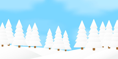Vector illustration of snowfall in the winter forest.  イラスト・ベクター素材