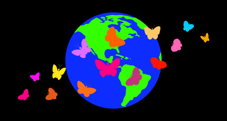 Butterflies against the background of the planet.