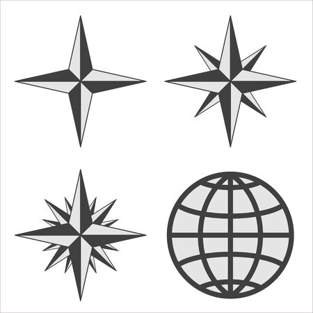 The emblem of the compass rose. Vector illustration. 矢量图像