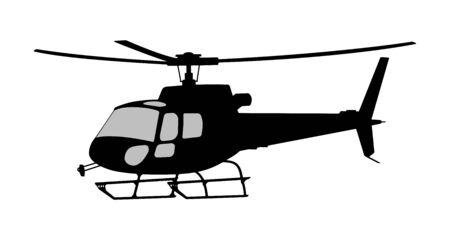 Vector illustration the silhouette of the helicopter. Vektoros illusztráció