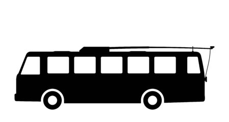 Silhouette of a trolley bus on a white background. Illustration