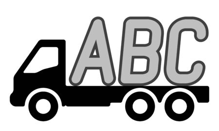 A truck is carrying letters. Vector illustration. Stock Illustratie