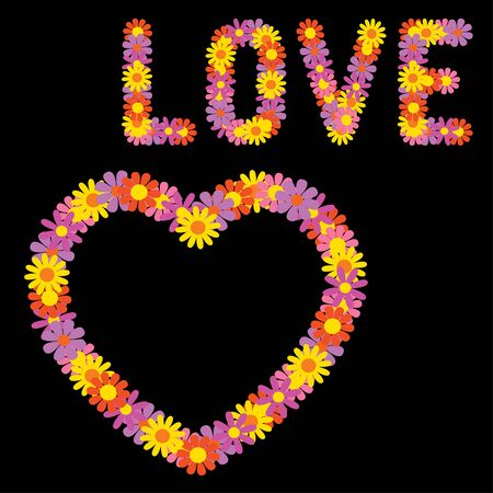 Lettering Love and heart made of flowers.