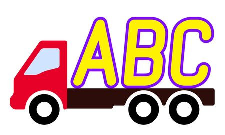 A truck is carrying letters on a white background.. Stock Illustratie
