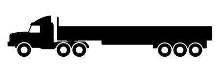 Silhouette of a truck with a trailer on a white background.