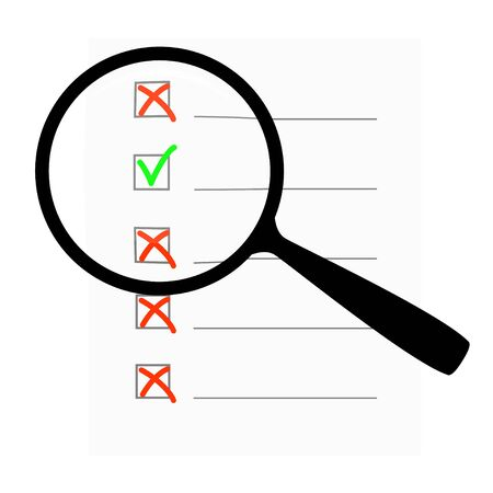 Magnifying glass on the background of the questionnaire.