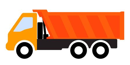 Silhouette of a dump truck on white background. Stockfoto