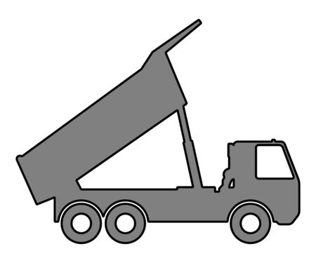 Silhouette of a dump truck on white background. Vector illustration. Stock Illustratie