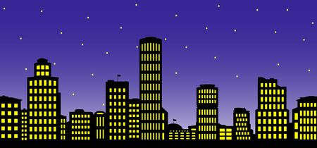 Silhouette of the city at night.