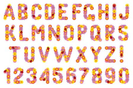 Set of letters and numbers of flowers. Stock Illustratie