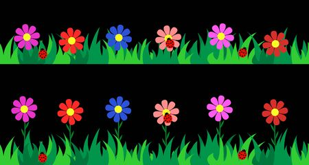 Set seamless grass and flowers. Vector illustration. Иллюстрация
