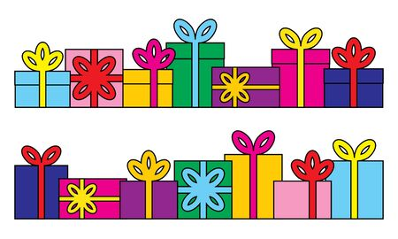 Set of series of gift boxes. Vector illustration.