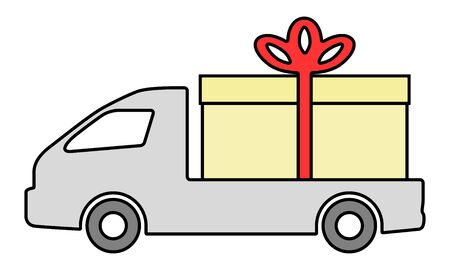 The truck is carrying a box with a gift. Stock Illustratie