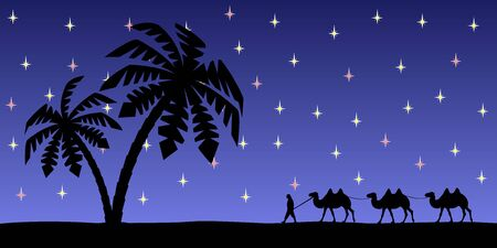 Man with camels on the background of palm trees and the night sky. Ilustracja