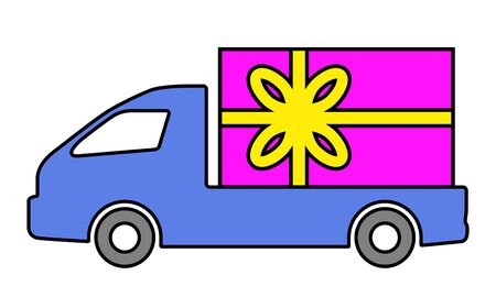 The truck is carrying a box with a gift. Ilustracja