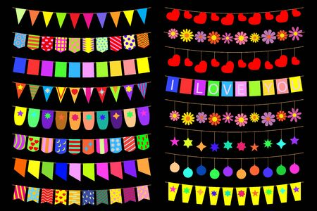 Set of festive decorations on the ropes. Vector illustration.
