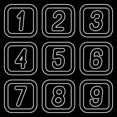 Numbers in squares against a dark background. Vector illustration. Stock Illustratie