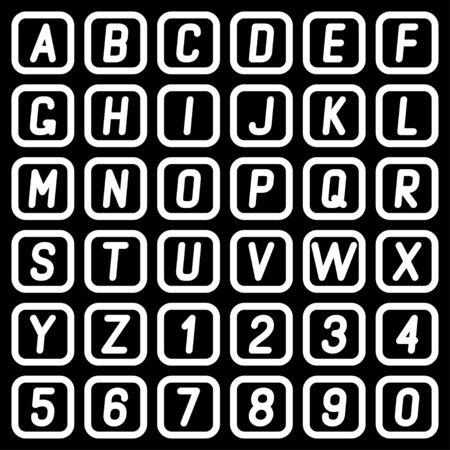 Alphabet and numbers on a dark background. Vector illustration. Ilustracja