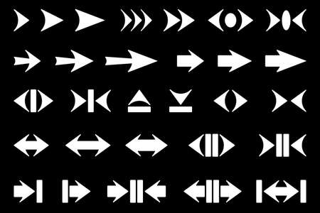 Set of silhouettes of arrows on a dark background.
