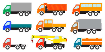 Set of color images of trucks on a white background.