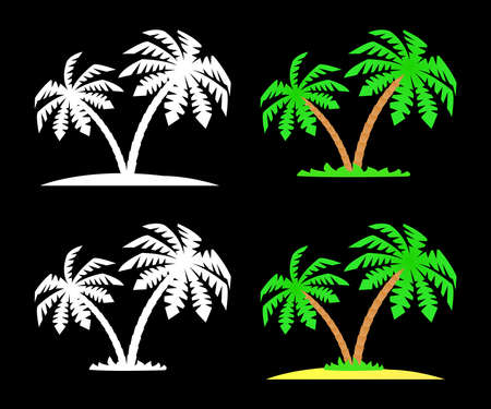 Set of silhouettes and images of palm trees.