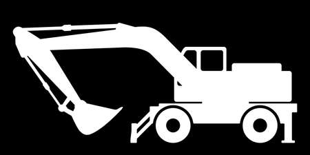 The silhouette of the excavate on a dark background.