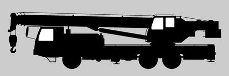 Black and white image of a truck crane.