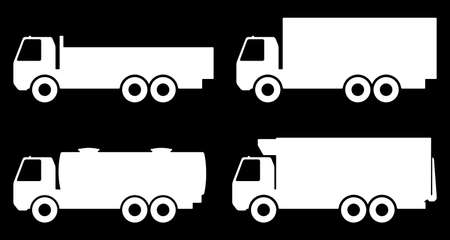 Set of silhouettes the cargo trucks. Vector illustration. 向量圖像