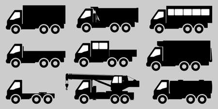 Set of black and white images of trucks. 向量圖像