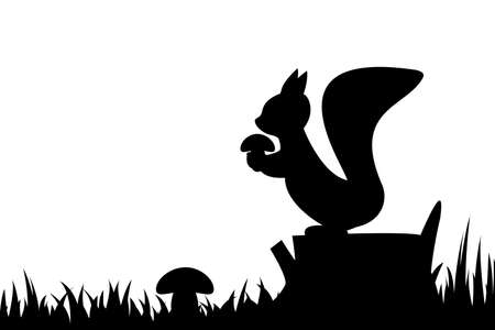 Silhouette of a squirrel on a tree stump.