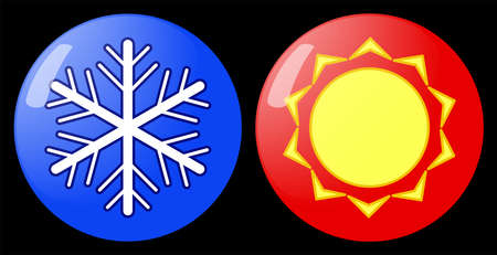 Set of glass buttons with sun and snowflakes emblem.