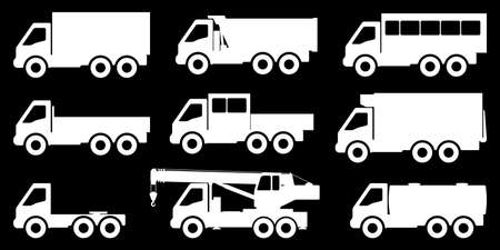 Set of silhouettes of trucks. Vector illustration.