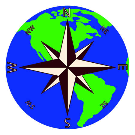 Wind rose against the background of the planet Earth.