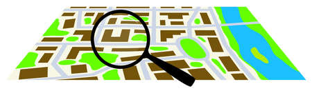 City map with a magnifying glass. Vector illustration.